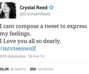 twitter, teen wolf, and crystal reed image