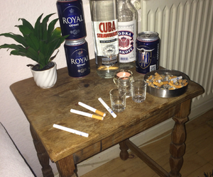 alcohol, cigaret, and drunk image