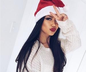 christmas, santa hat, and brunette image