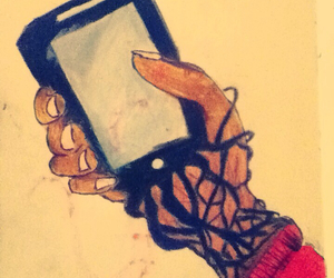 art, phone, and sketch image