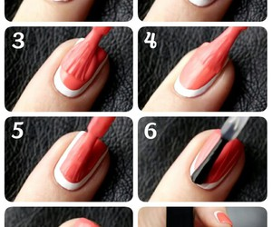 diy, red & white, and nails tutorial image