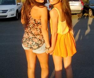 best friends, brunette, and dress image