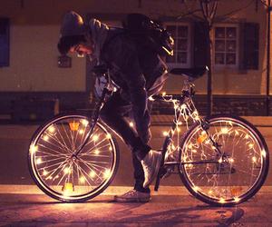 boy, light, and bike image