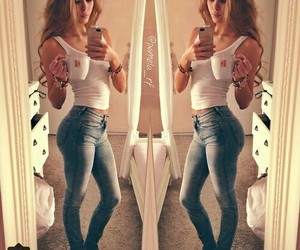 girl, jeans, and body image