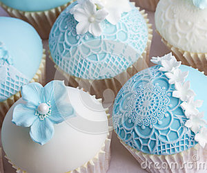 cupcake, blue, and wedding image