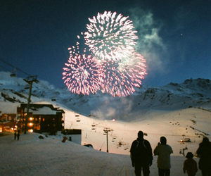 fireworks, snow, and winter image