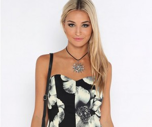 black, dress, and blonde image