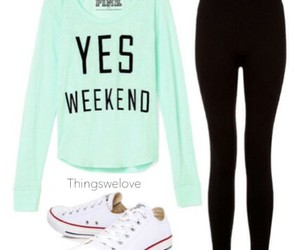 black leggings, converses, and school outfit image