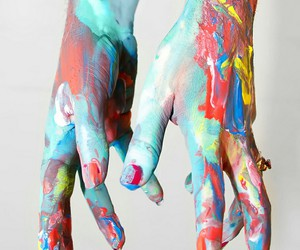 hands, paint, and art image
