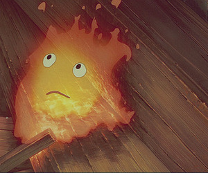 ghibli, howl's moving castle, and calcifer image