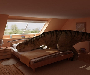 dinosaur and bed image