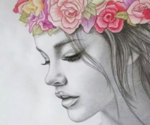 flowers, girl, and drawing image