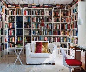 home, interior design, and library image