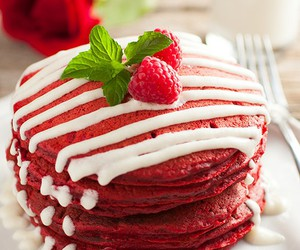 pancakes, food, and red image