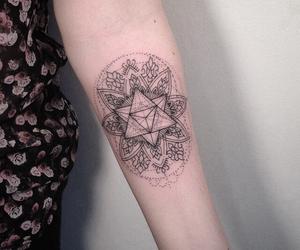 arm tattoo, mandala tattoo, and tattoer image