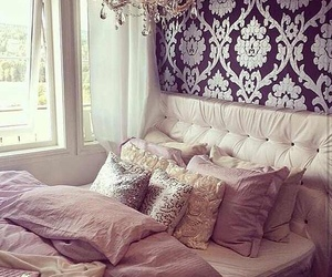 bed, black, and chandelier image
