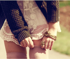 accessories, sweater, and knee high image