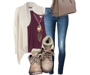 boots, cardigan, and jeans image