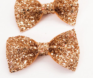 bow, gold, and glitter image