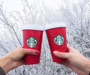 starbucks, winter, and red image
