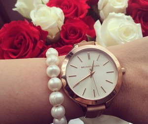 watch, Michael Kors, and flowers image