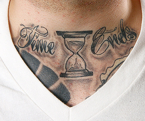 boy, chest tattoo, and time image
