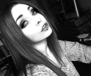 black and white, girl, and lip piercing image