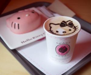 hello kitty, coffee, and food image