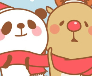panda, kawaii, and reindeer image
