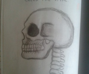 book, drawing, and skull image