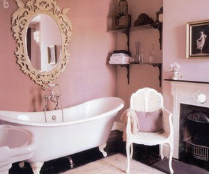 bathroom, pink, and romantic image