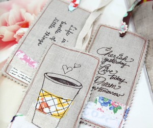 bookmark, coffee, and fabric image