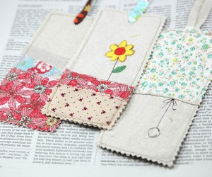 bookmark, diy, and fabric image