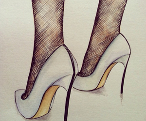 draw, drawing, and high heels image