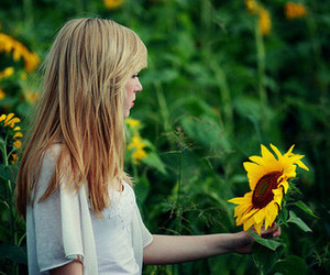 girl, sunflower, and blonde image