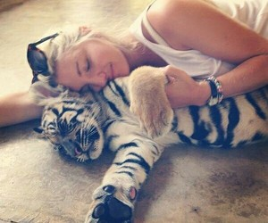 girl, tiger, and cute image
