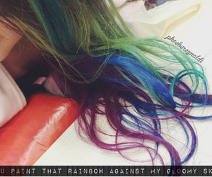 colorful, quote, and ombrehair image