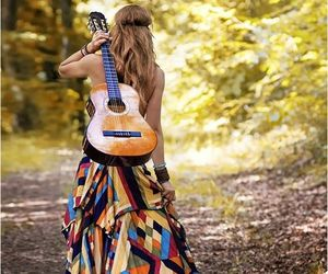 guitar, nature, and dress image