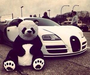 car, panda, and white image