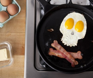 bacon, skull, and eggs image