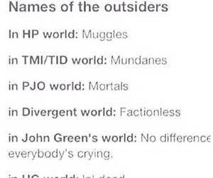 harry potter, mortals, and outsiders image
