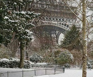 paris, eiffel tower, and winter image