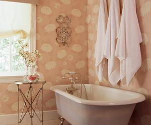 white, clawfoot tub, and pale pink image
