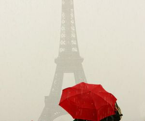 paris, red, and umbrella image