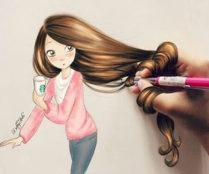 art, fall, and hairstyle image