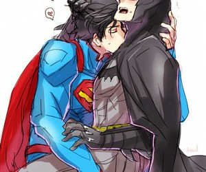 batman, superman, and yaoi image