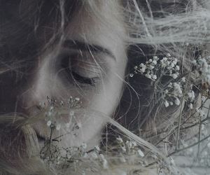 face, girl, and flowers image