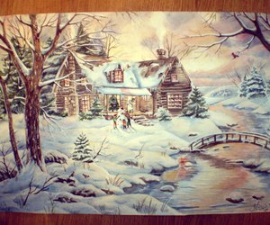 art, drawing, and snow image