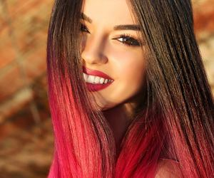 girl, photoshoot, and red lipstic image