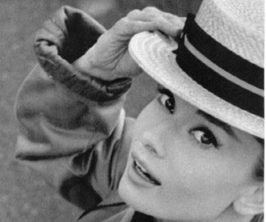 audrey hepburn, black and white, and hat image